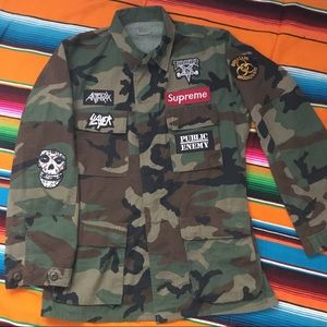 Other - ARMY JACKET w SUPREME THRASHER METAL BAND PATCHES